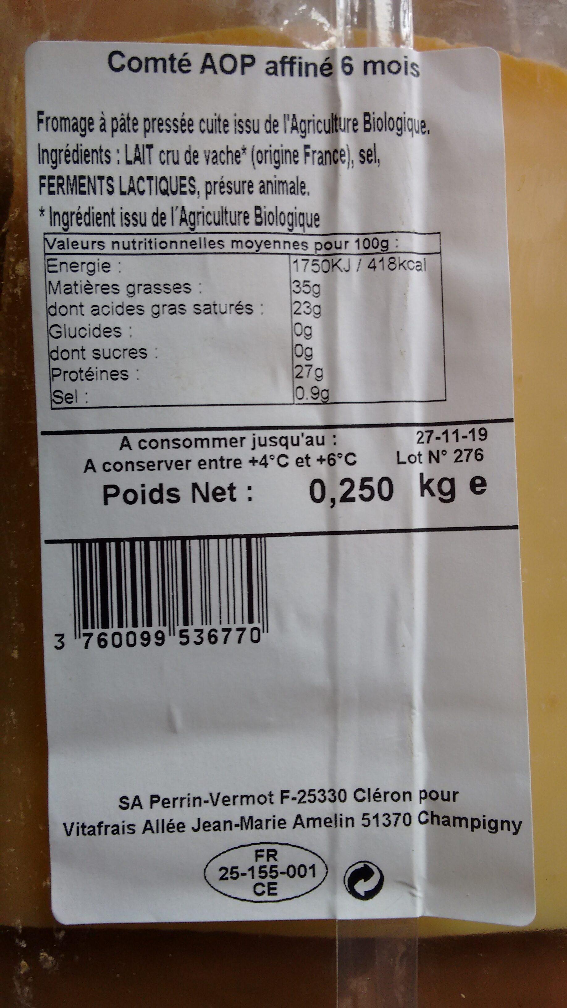 Comté AOP affiné 6 mois - Ingrédients - fr