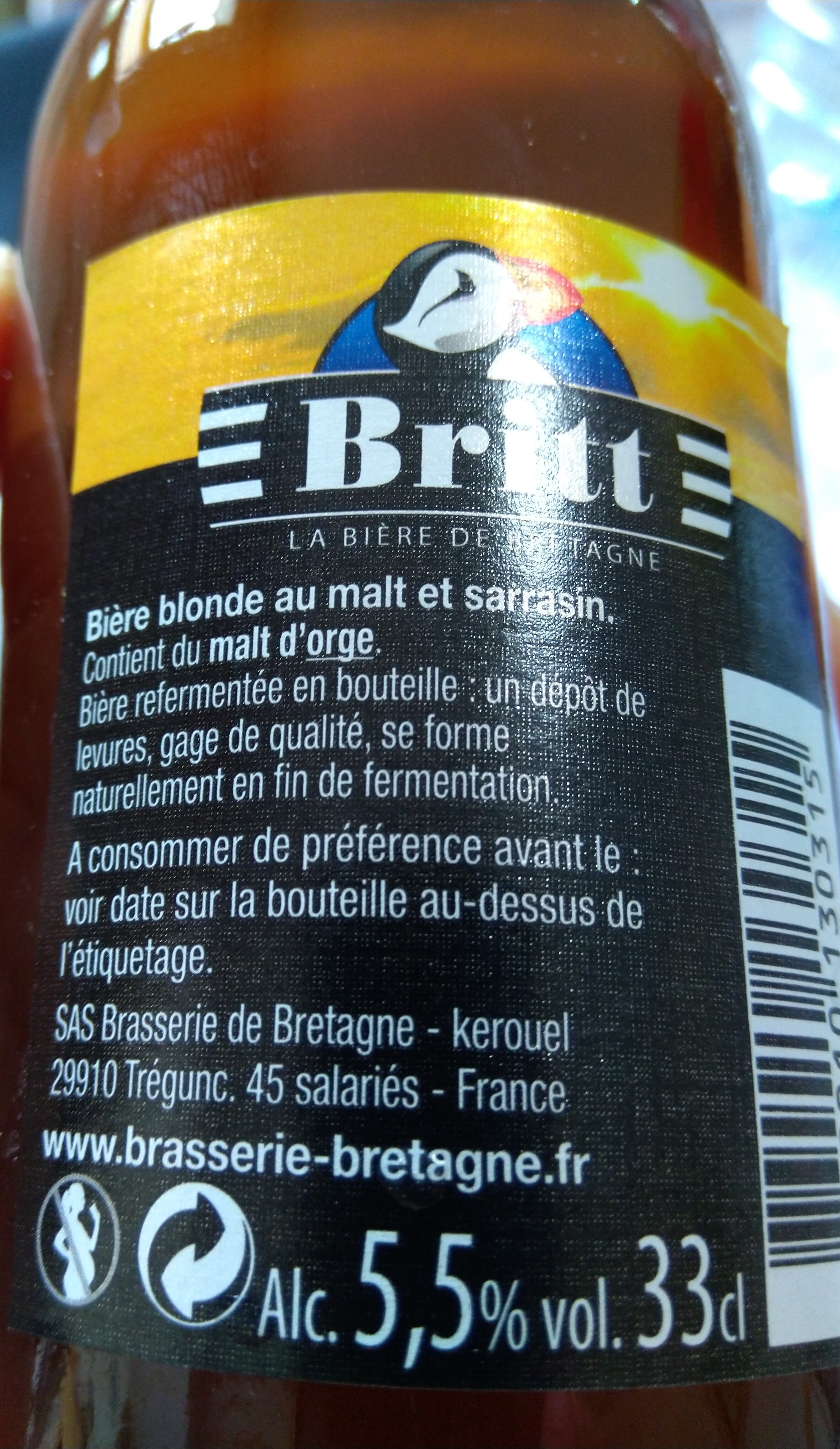 Britt Bière de Bretagne Melen au malt et sarrasin (6%) - Valori nutrizionali - fr