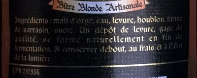 Bière blonde - Ingrédients - fr
