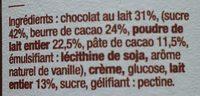 Chocolat au lait, pâte à tartiner - Ingrédients - fr