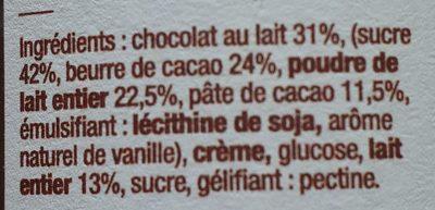 Chocolat au lait, pâte à tartiner - Ingrédients