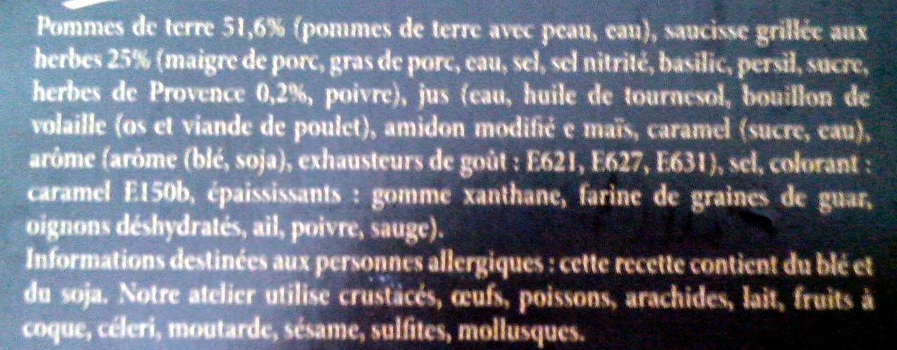 Saucisses grillées aux herbes pommes de terre - Ingredients - fr