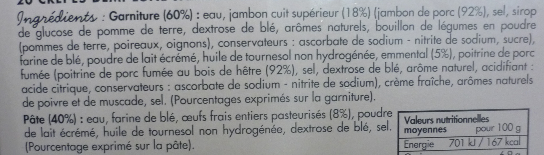 20 crêpes demi-lune jambon emmental - Ingrediënten - fr