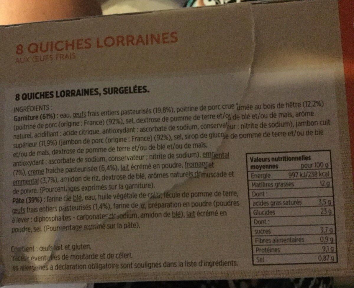 8 Quiches Lorraines - Ingrédients