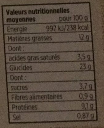 8 Quiches Lorraines - Informations nutritionnelles
