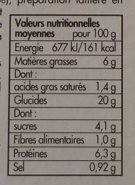 6 crêpes roulées jambon emmental - Informations nutritionnelles - fr