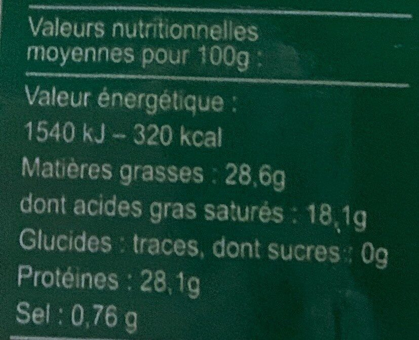 Râpé vache bio des aldudes - Valori nutrizionali - fr