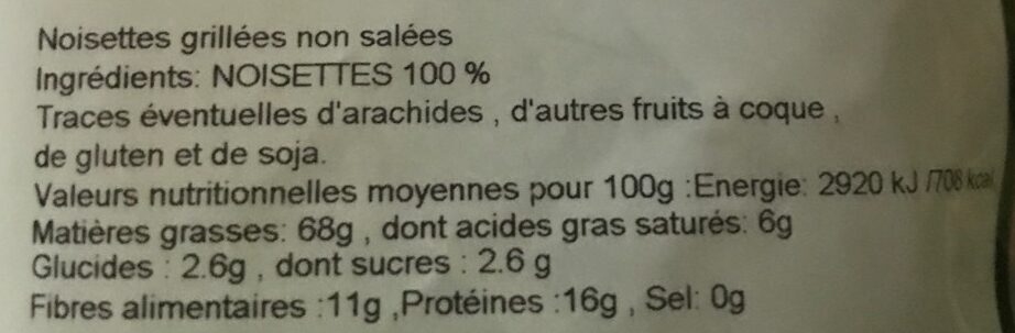 Noisettes grillés - Ingredients - fr