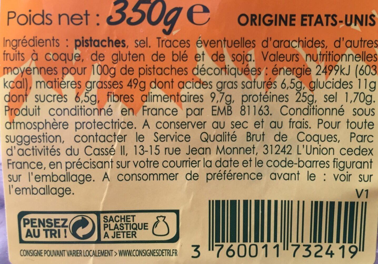 Pistaches grillées et salées - Ingredients - fr