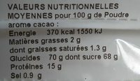 ARÔME CACAO VAN HOUTEN - Nutrition facts - fr