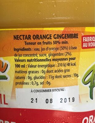 Orange-Gingembre - Voedingswaarden - fr