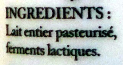 Yaourt Nature - Ingrédients