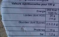 Petit cœur de paille bio - Nutrition facts