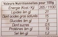 La Bûche de Chèvre Biologique - Informations nutritionnelles - fr