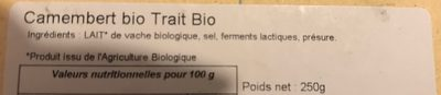 Camembert de vache - Ingrédients - fr