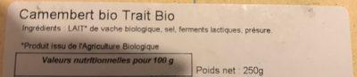 Camembert de vache - Ingrediënten - fr