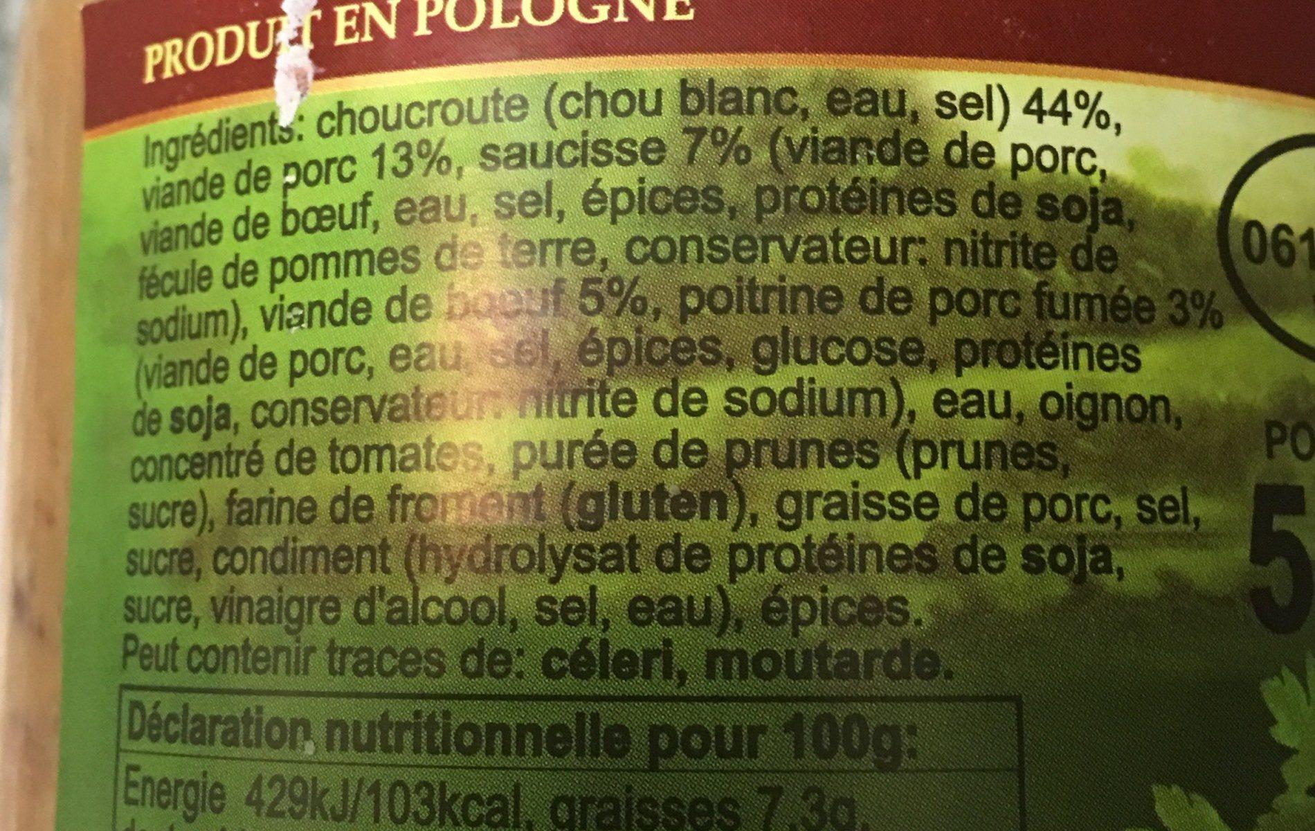 Bigos à la polonaise - Ingredients