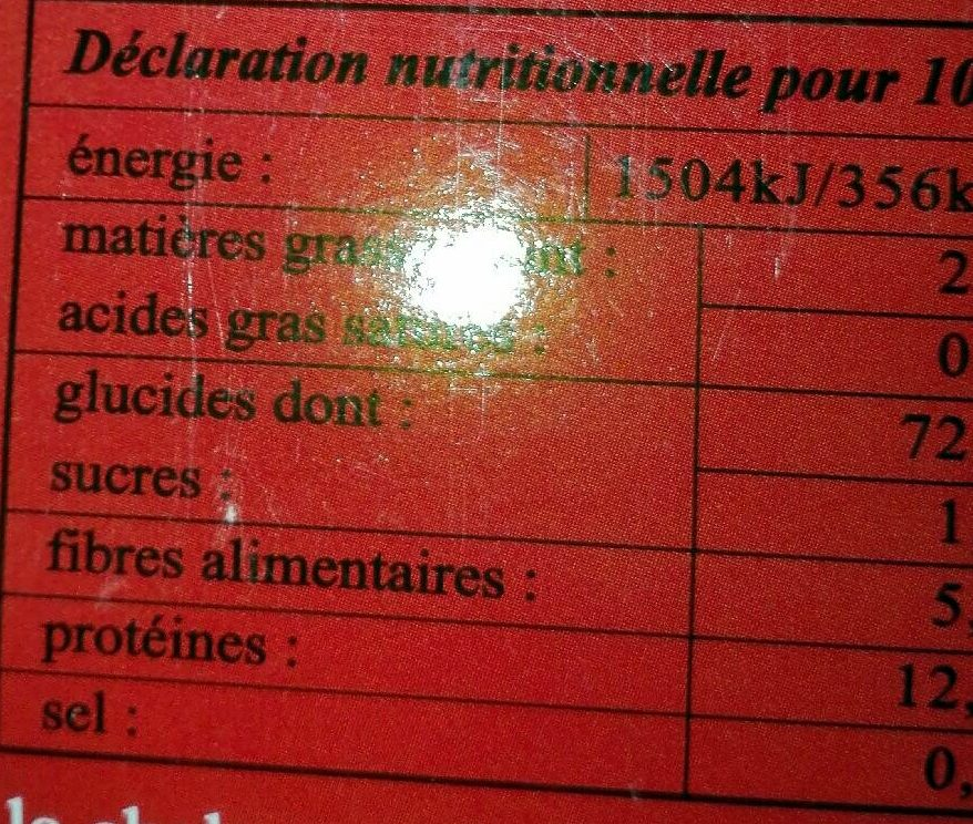 Graines de Sarrasin Grillées - Informations nutritionnelles - fr