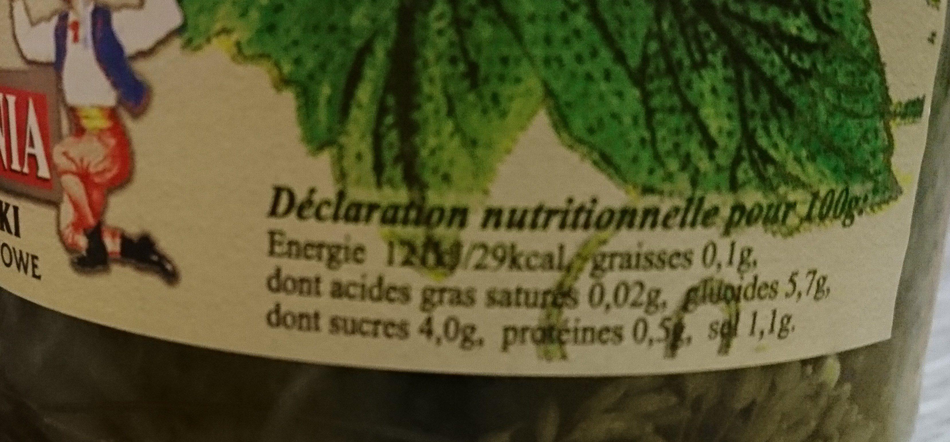 Cornichon aigres-doux - Ingrédients