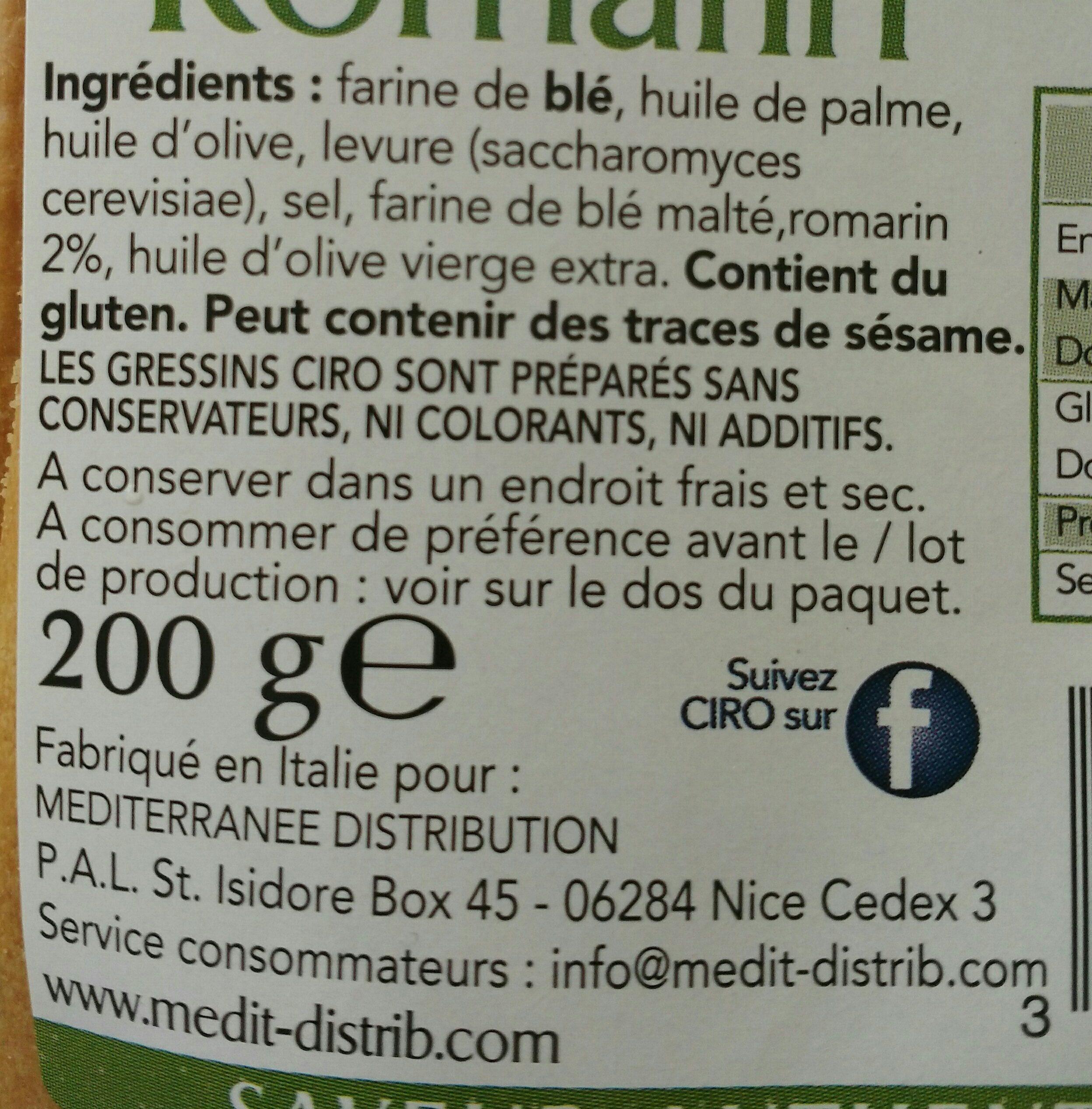 Grissini au romarin - Ingrediënten - fr