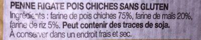 Penne rigate pois chiches - Ingrédients