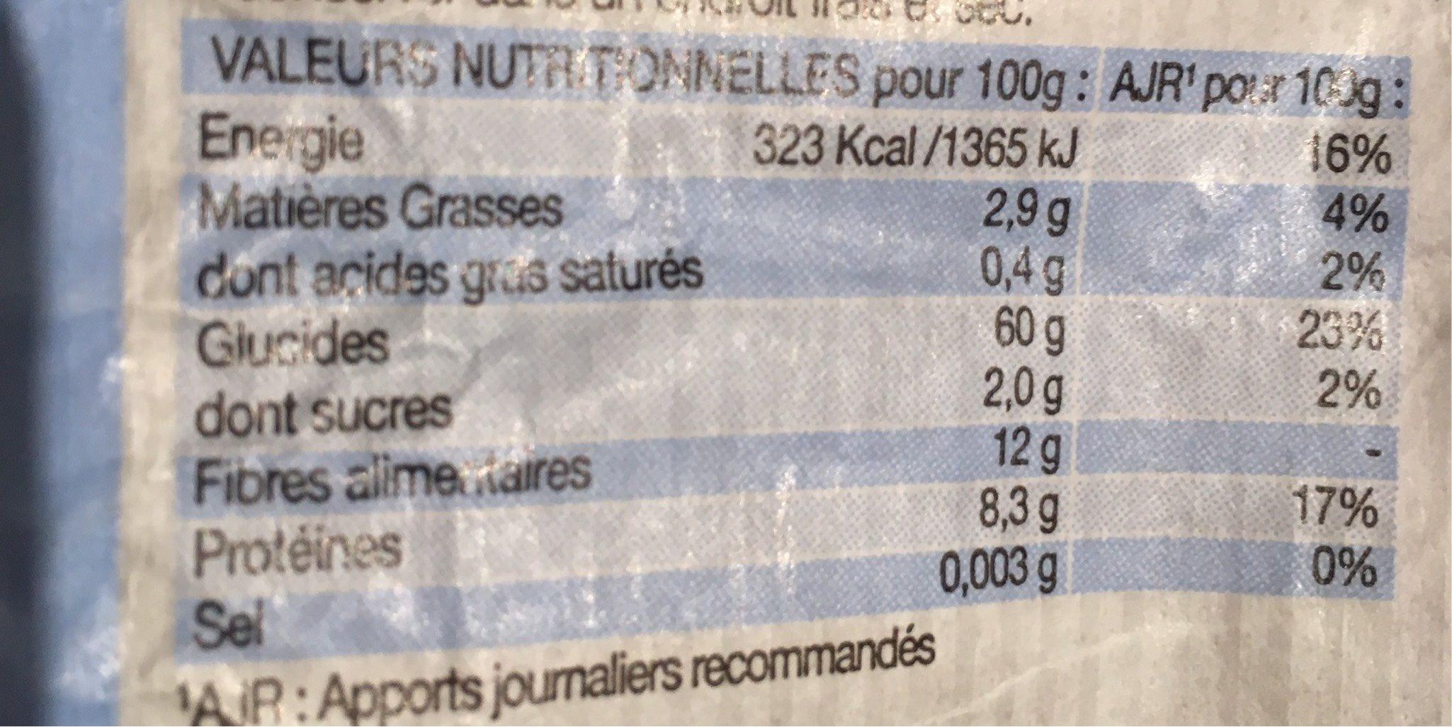 Maccheroni multicereales - Voedingswaarden - fr