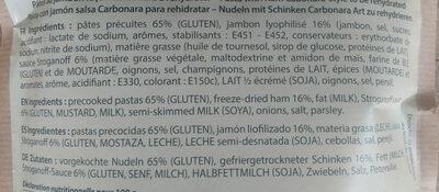 Pâtes au jambon façon carbonara - Ingredients - fr