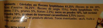 Muesli au lait - Ingrédients - fr