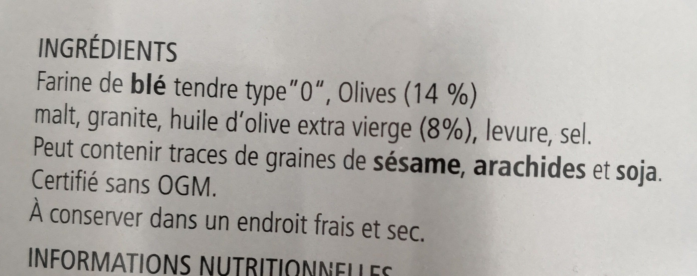 Grissini alle olive - Ingrediënten - fr