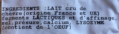 Tommette de chevre au lait cru - Ingrédients - fr