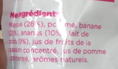 Fruit break Fruits mixés & lait de coco Tropical - Ingredients