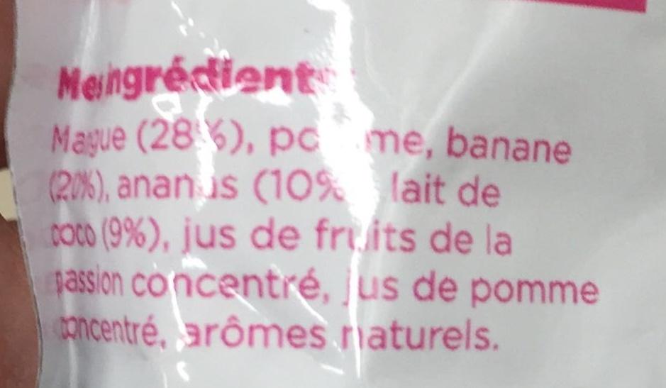 Fruit break Fruits mixés & lait de coco Tropical - Ingredients - fr