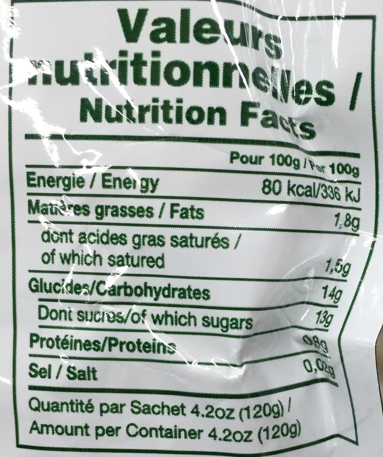 Fruit break Fruits mixés & lait de coco Tropical - Nutrition facts - fr