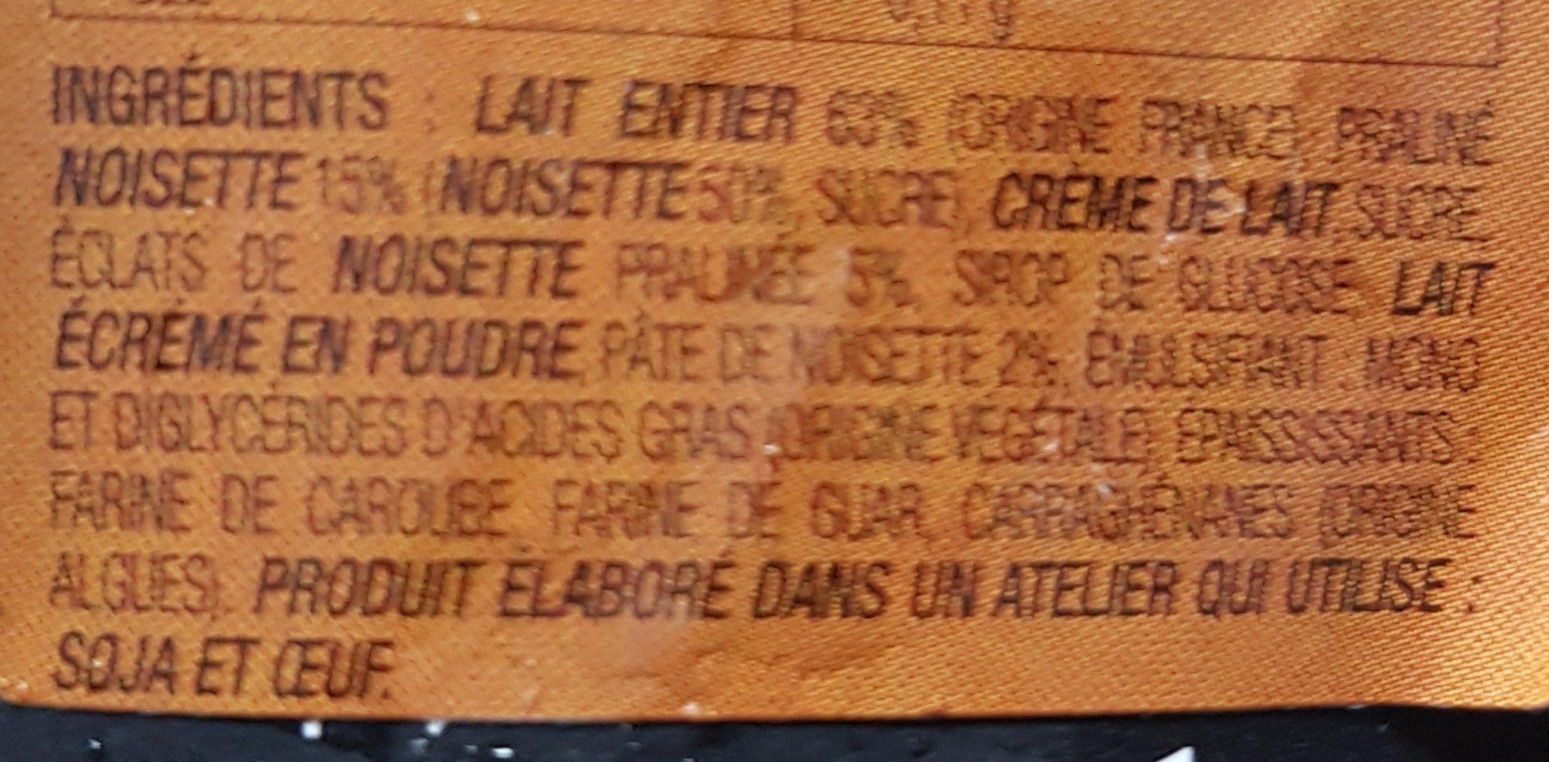 Crème glacée à la noisette - Ingrédients - fr
