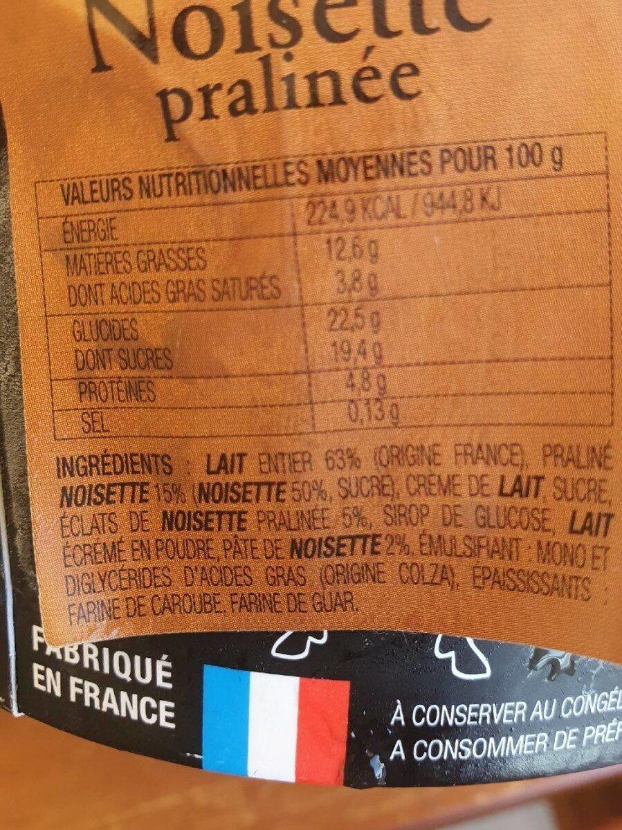 Crème glacée à la noisette - Informations nutritionnelles - fr