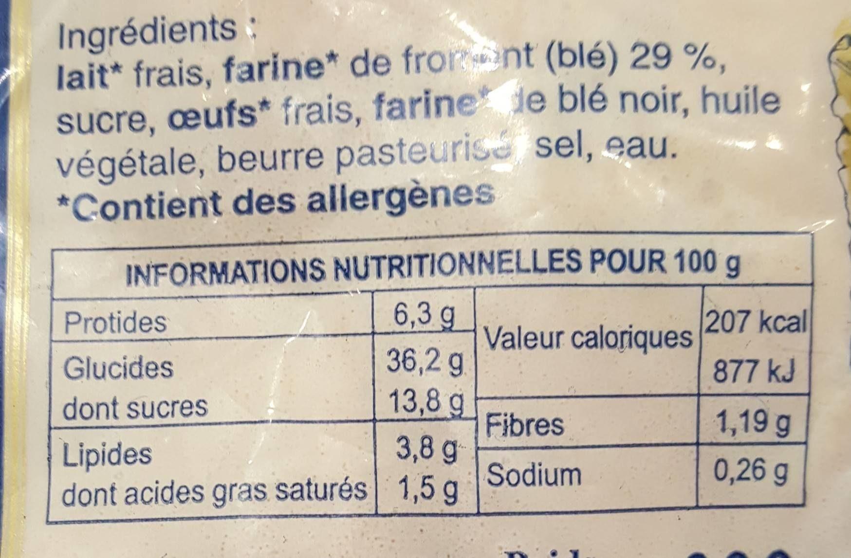 La crepe gourinoise - Informations nutritionnelles - fr