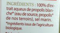 Spray Propolis - Ingredients - fr