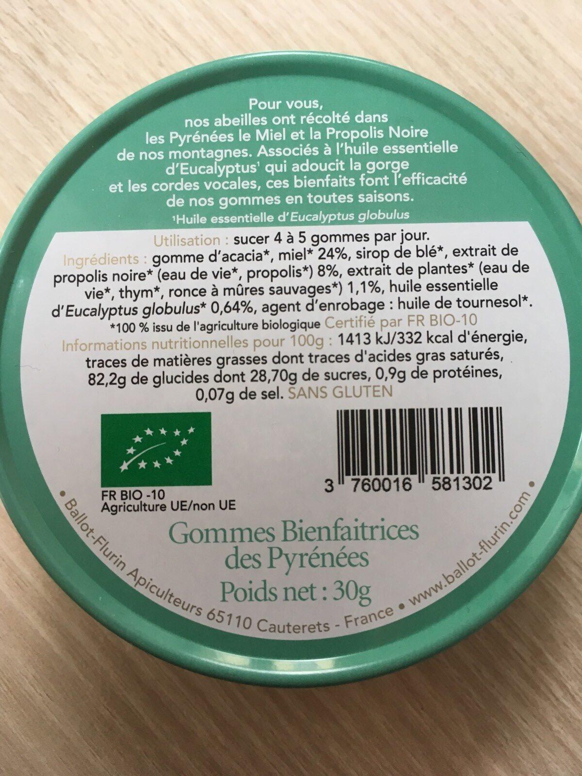 Gommes Bienfaitrices des Pyrénées - Ingrédients - fr