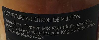 Confiture au citron de Menton - Ingredients