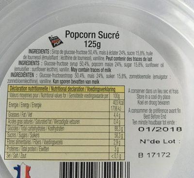 GOBELET POPCORN SUCRÉ - Ingredienti - fr