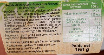Carottes aux ecorces de citrons confites - Ingrediënten