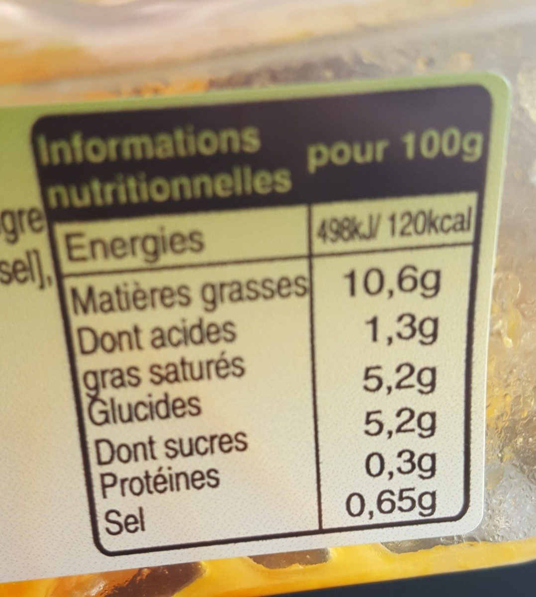 Carottes Râpée Au Jus De Citron - Ingredients