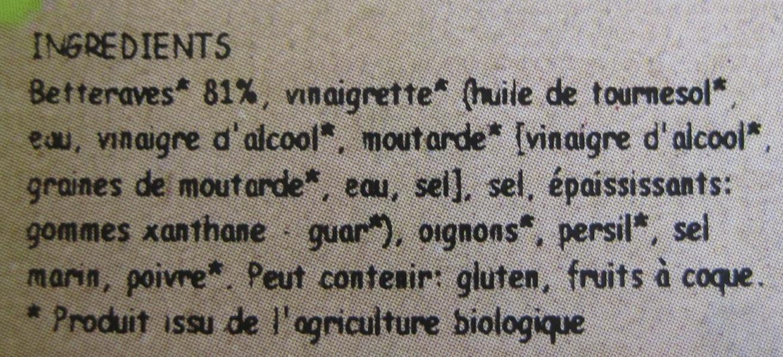 Salade de betterave a la moutarde a l'ancienne - Ingredients