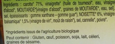 Carottes aux noisettes et au vinaigre balsamique - Ingrédients - fr