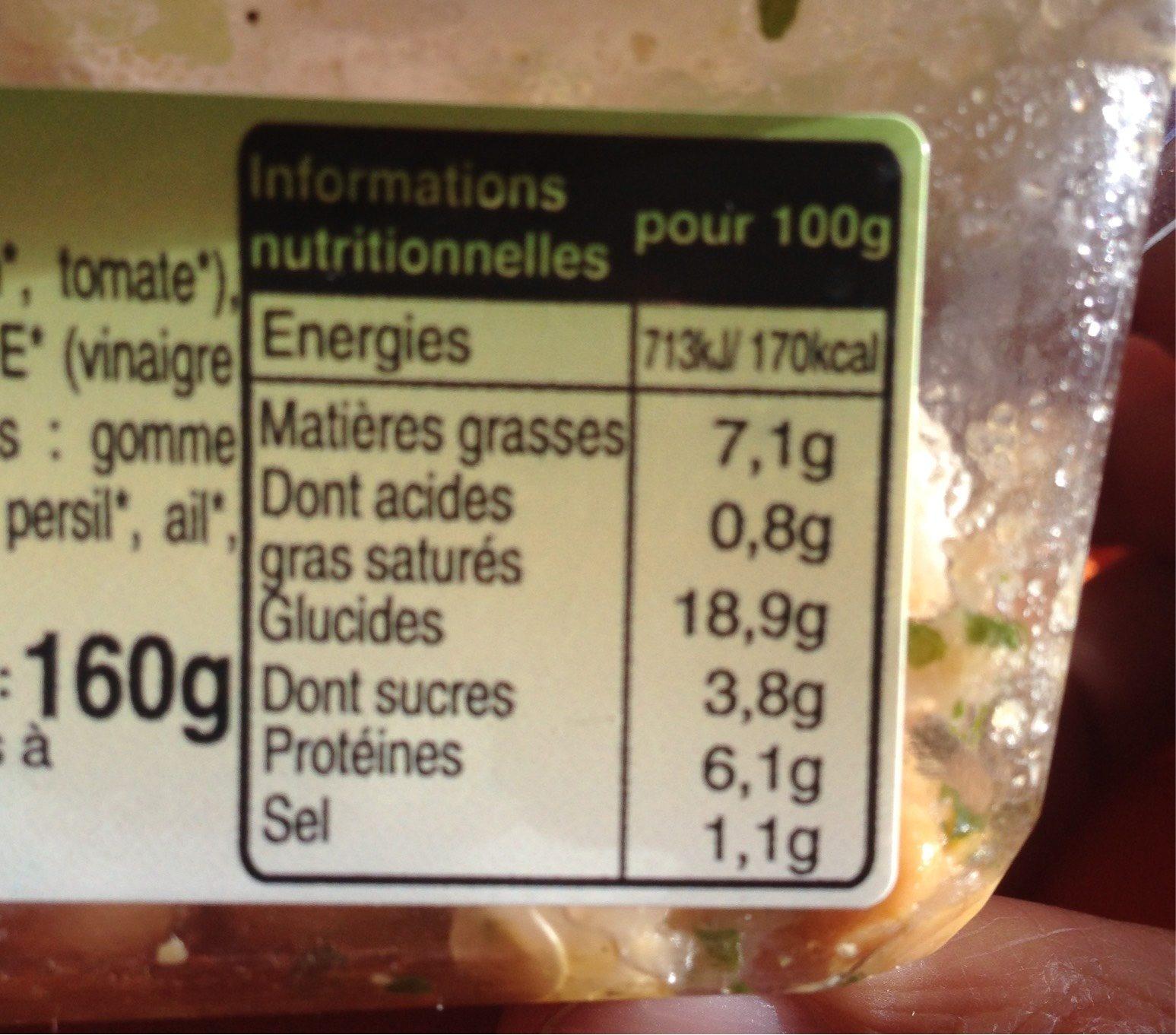 Salade De Pois Chiches a L'orientale - Nutrition facts