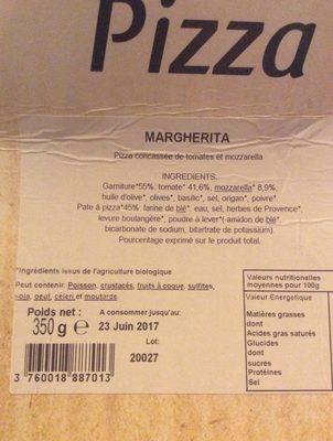 Pizza Bio Margherita - Ingrédients