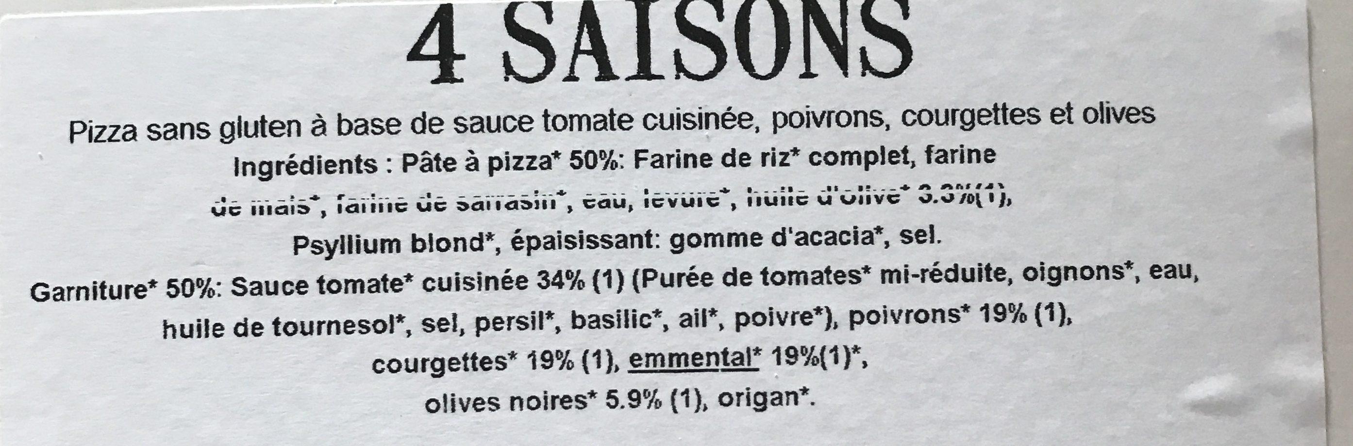 Pizza Bio 4 saisons - Ingrediënten