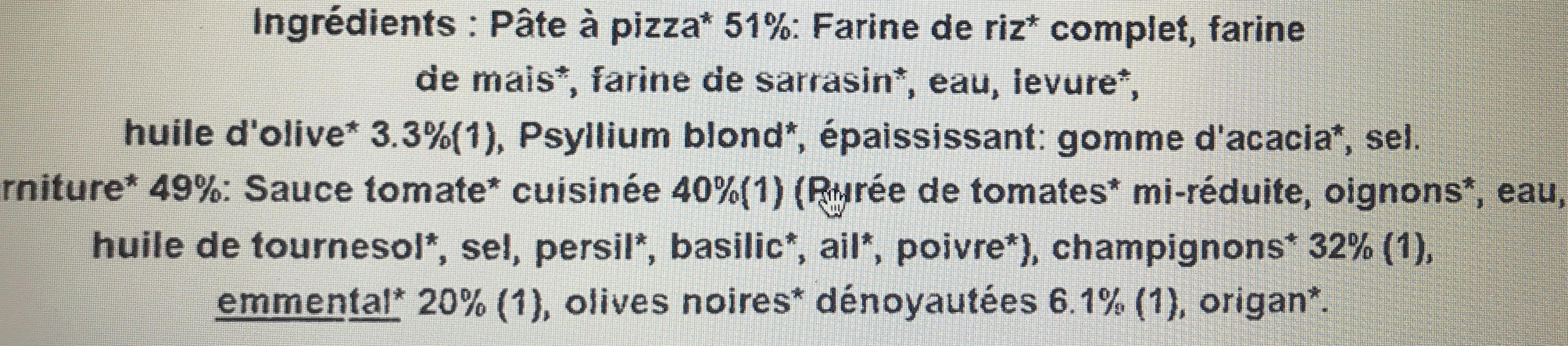 Pizza Bio' au sarrasin Champignons - Ingrédients