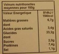 Pizza Bio' au sarrasin Champignons - Informations nutritionnelles