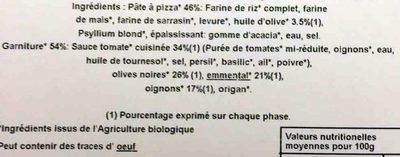 Pizza Bio' au Sarrasin Méditerranéenne - Ingrédients